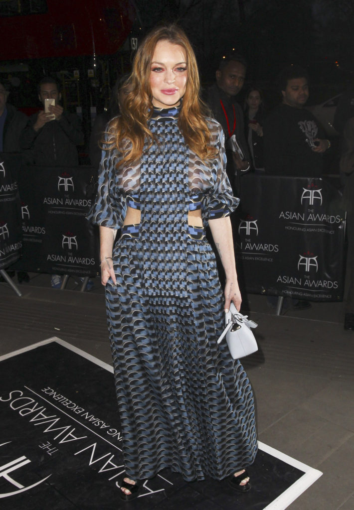 52017644 Actress Lindsay Lohan is seen attending the 2016 Asian Awards at The Grosvenor House Hotel, London on April 8, 2016. Lindsay was rocking a see through patterned dress during the event! FameFlynet, Inc - Beverly Hills, CA, USA - +1 (310) 505-9876 RESTRICTIONS APPLY: USA/CHINA ONLY